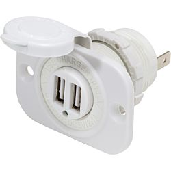 12/24V Dual USB 2.1A Charger - White