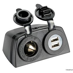 Lighter Socket + Double USB with Casing (Black)