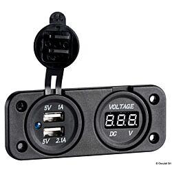 Digital Voltmeter and Dual USB Port 4.8A