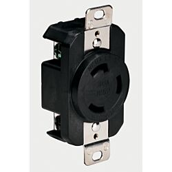 Locking Receptacle, 30A 125V, Black (Bulk)