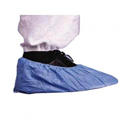 Blue elasticated plastic shoe covers 10 pk
