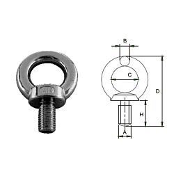 Lifting Eye Bolt - Stainless Steel AISI316 DIN 580