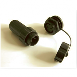 2Pin Plug/socket pair (inc. protective cap for socket)
