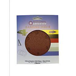 150mm R/O Sanding DiscsRed aluminium oxide fine 5 pack