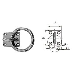 Square Eye Plate - with Ring Stainless Steel AISI304