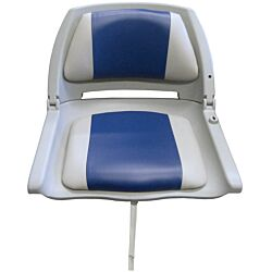 Moulded Folding Down Seat with Grey/Blue Cushion