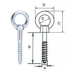 Eye Bolt With Wide Opening Eye - AISI316